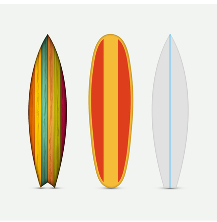 surfing: Vector modern colorful surfboard set on white background
