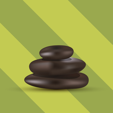 pebble: modern 3 spa stones on striped green background Illustration