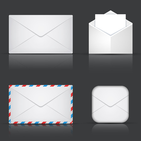 envelope icon: modern envelope or mail set on gray background