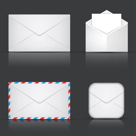 modern envelope or mail set on gray background
