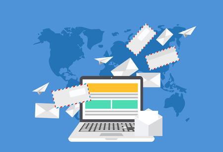 e メール マーケティングのモダンなフラット デザイン。封筒または背景を世界地図上の文字を持つノート パソコン