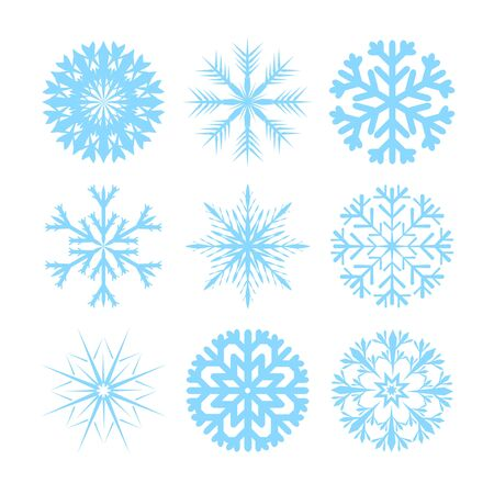 blue icon: Vector modern snowflakes flat icons set on white background