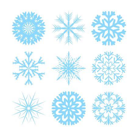copo de nieve: Vector modernas copos de iconos planos establecidos en el fondo blanco Vectores