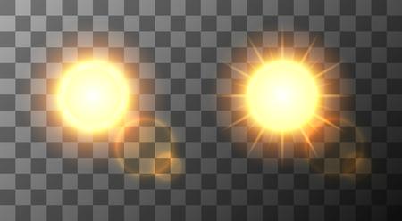 luz solar: Vector moderno sol definir o fundo. projeto sol. Ilustração