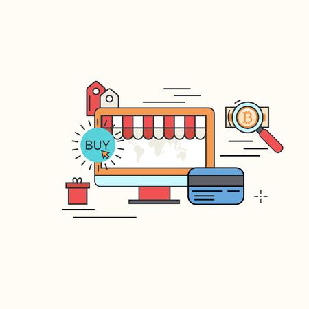 money online: Vector modern thin line flat design of buy online background. Internet shopping, store design.