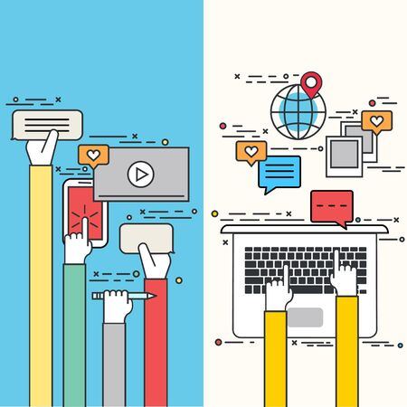 email marketing: Vector modern thin line flat design of social network, media, business development, technology background.