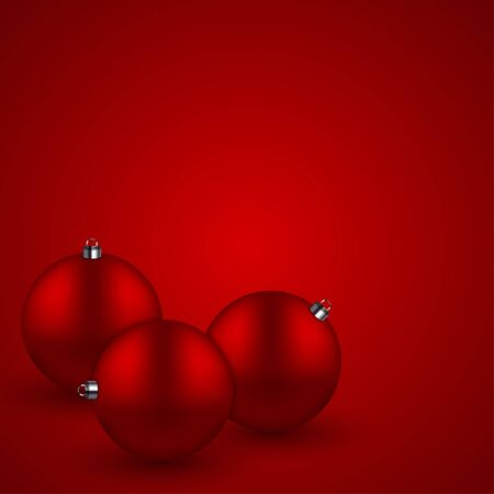 xmas background: Vector modern red christmas balls background. Xmas invitation card.