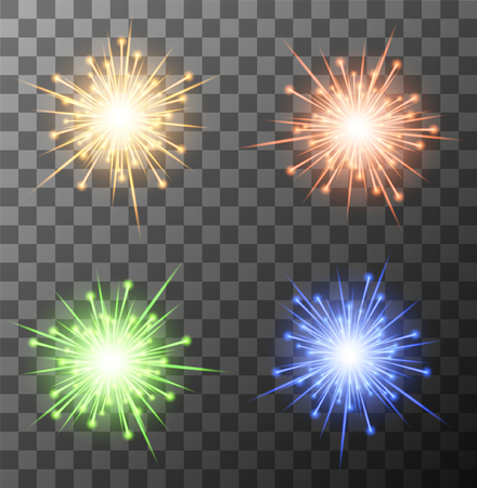 fourth birthday: Vector modern fireworks set on sample background.   Illustration
