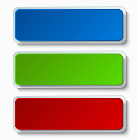 green and red: Vector modern colorful web buttons set on white background