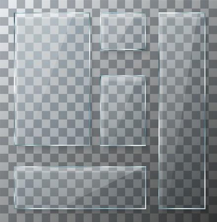 objetos cuadrados: Modernos del vector placas de vidrio transparentes establecidos en el fondo de la muestra. eps10 Vectores