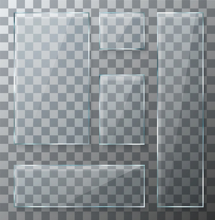 square button: Vector modern transparent glass plates set on sample background. Eps10 Illustration