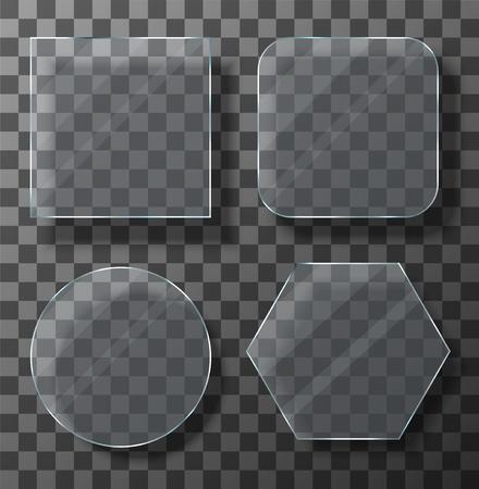Vector modern transparent glass plates set on sample background. Eps10 Illustration