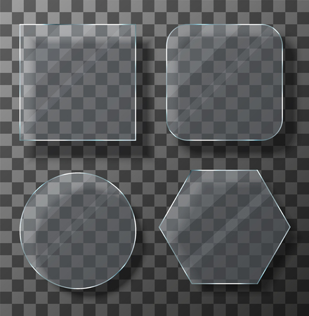 Vector modern transparent glass plates set on sample background. Eps10 Иллюстрация