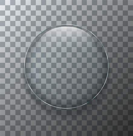 Vector modern transparent circle glass plate with shadow on sample background