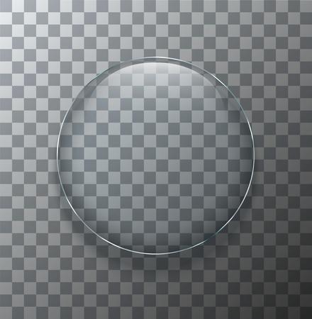 vidrio: Vector moderno placa círculo de cristal transparente con sombra en el fondo de la muestra
