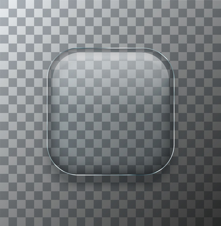 square button: Vector modern transparent square glass plate with shadow on sample background Illustration