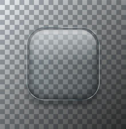 vidrio: Vector moderna placa de vidrio cuadrado transparente con sombra sobre fondo de la muestra