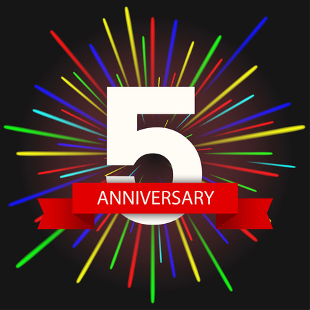 anniversary: Vector moderno tarjeta de vacaciones 5 invitaci�n del aniversario. Fuegos artificiales creativos fondo