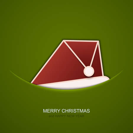 christmas concept: Vector modern christmas hat on green background. Invitation of xmas or happy new year Illustration