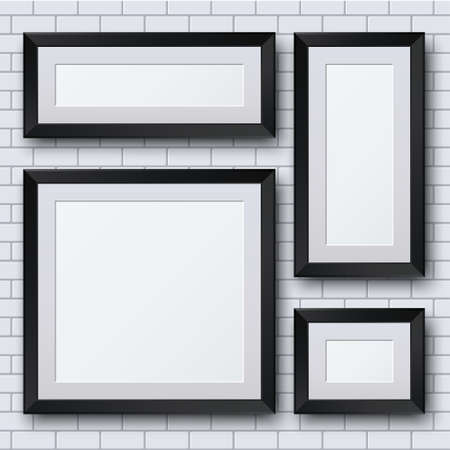 picture: Vector blank picture frame set on brick wall. Template background