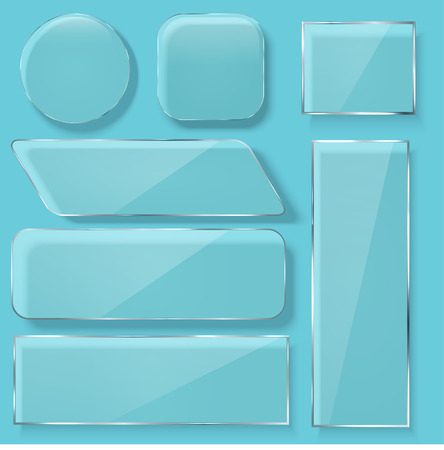 Vector modern transparent glass plates set on blue background.