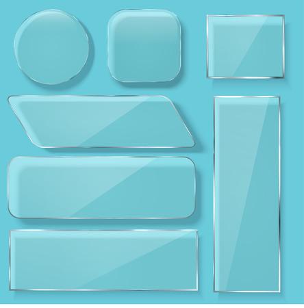 Vector modern transparent glass plates set on blue background.