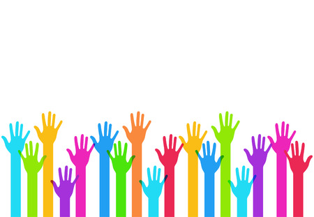 modern colorful hands background. Creative template Stock Illustratie
