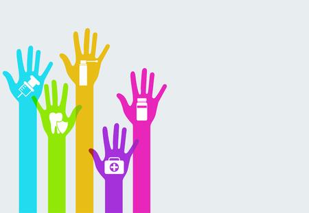 flu shot: modern colorful hands medicine info graphics background. Creative template Illustration
