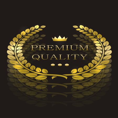 best quality: gold laurel wreath with sample text. premium quality Illustration