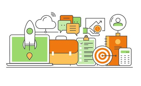 employee development: modern thin line flat design of icons set. Business development, successful career, office info graphic collection