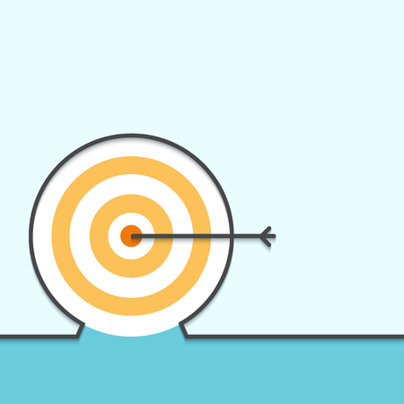 achieving: Vector modern outline flat design of achieving aims. Business background Illustration