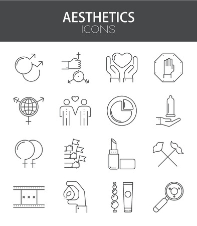 Vector modern thin line flat design of icons set. Sexual Minorities set outline infographic collection.