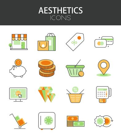 flat: Vector modern thin line flat design of icons set. Money and Shopping, e-commerce, infographic collection