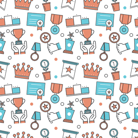 rewarding: Vector modern seamless pattern texture background of flat awards, rewarding, nomination, congratulation achievement icons. Thin line illustration design for wallpapers, print,, packaging, magazines and backdrops on websites