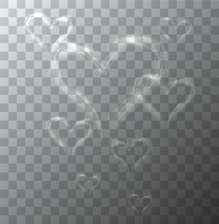 hot air: Vector modern heart from smoke on sample background. Eps10
