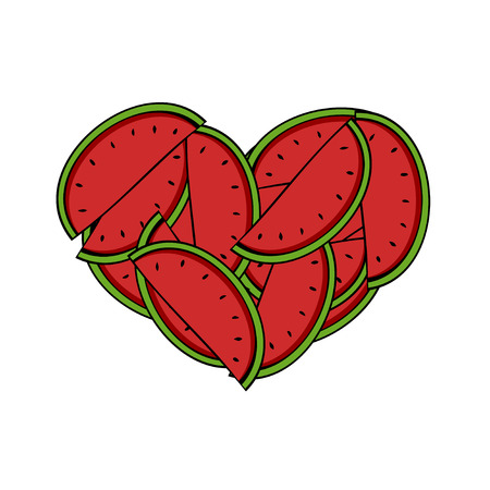 watermelon woman: Vector modern slices of watermelon in the form of heart on white background