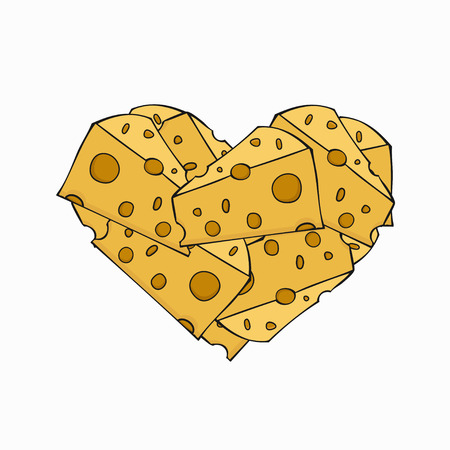 cheez: Vector modern cheese in a heart on white background