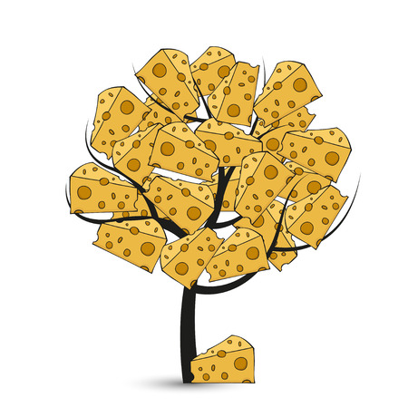 grated cheese: Vector modern cheese tree on white background