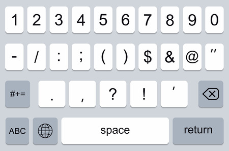 keyboard key: vector modern keyboard of smartphone, numerals buttons Illustration