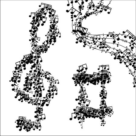 minim music note: Vector modern black music background design. Eps10