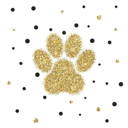 vectro: Vectro modern golden glitter animal paw background Illustration