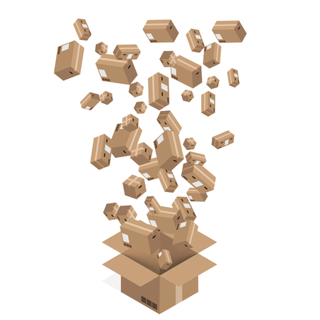 modern cardboard boxes set. Delivery background
