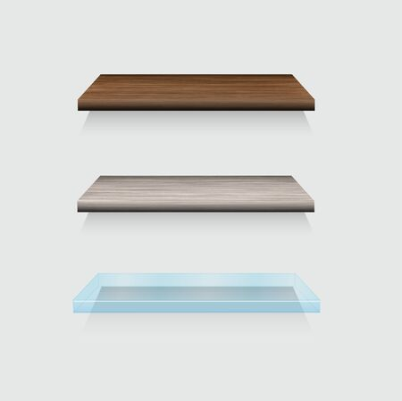 exhibit houses: Vector modern wooden and glass shelfs set on gray background
