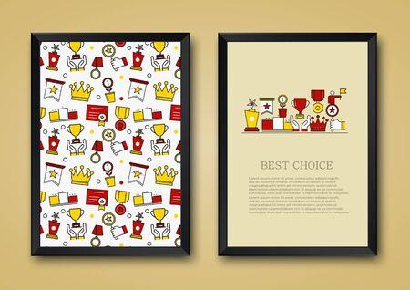 rewarding: Vector modern background of flat awards, rewarding, nomination, congratulation achievement icons. Thin line illustration design for print, magazines and backdrops on websites