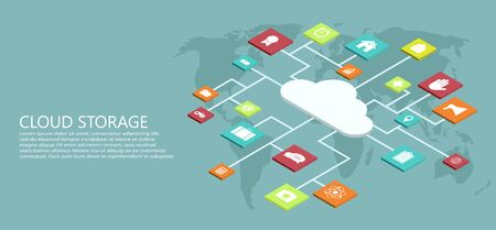 vector modern flat isometric cloud storage background