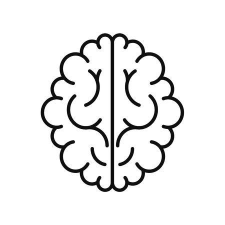 black white brain: Vector modern brain black icon isolated on white background