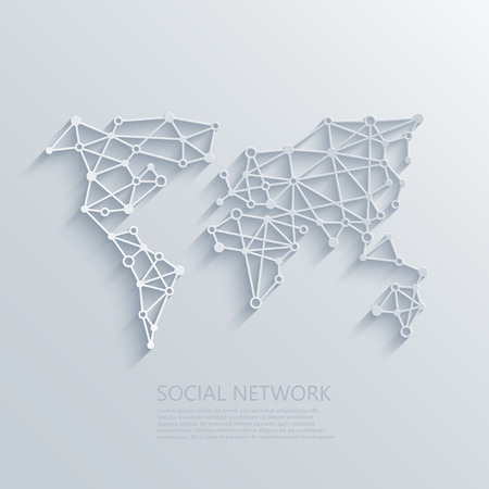 wireless network: Vector modern social network light concept background. Circuit board or low poly concept Illustration