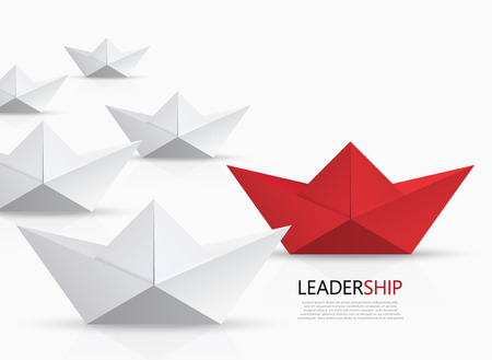 steady: modern concept leadership background. Red and white origami boat.