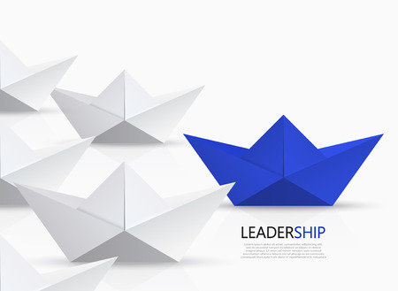 fleet: modern concept leadership background. Red and white origami boat.