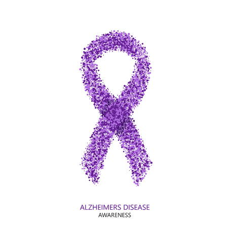 Vector modern ALZHEIMERS DISEASE awareness circles desigen. Purple ribbon isolated on white background Illustration